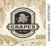 retro grapes label on harvest... | Shutterstock .eps vector #683347660