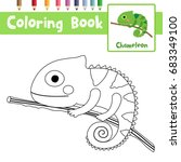 coloring page of chameleon on... | Shutterstock .eps vector #683349100