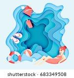 girl floating on the beach and...   Shutterstock .eps vector #683349508