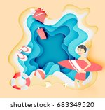 boy and surfboard on the beach... | Shutterstock .eps vector #683349520