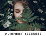 stylish hipster woman with fern ... | Shutterstock . vector #683350858