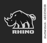 angry rhino. monochrome logo on ... | Shutterstock .eps vector #683354038