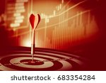 red dart arrow hitting in the... | Shutterstock . vector #683354284