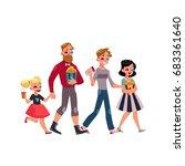 people go to cinema  movie... | Shutterstock .eps vector #683361640