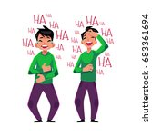 young man laughing out loud ... | Shutterstock .eps vector #683361694
