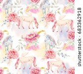 watercolor pegasus pattern and... | Shutterstock . vector #683362918
