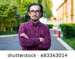 young guy with a beard and... | Shutterstock . vector #683363014