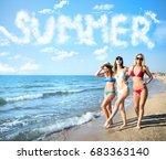 group of happy friends having... | Shutterstock . vector #683363140