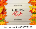autumn sale poster with fall... | Shutterstock .eps vector #683377120