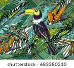 tropical pattern. seamless... | Shutterstock .eps vector #683380210