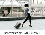 travelling businesswoman...   Shutterstock . vector #683382478
