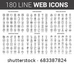 vector set of 180 flat line web ... | Shutterstock .eps vector #683387824