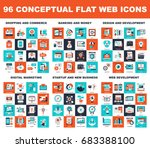 Collection of conceptual flat web icons. Icon pack includes - shopping and commerce, banking and money, design and development, digital marketing, startup and new business, web development themes. | Shutterstock vector #683388100