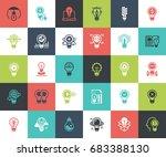 vector set of light bulbs flat... | Shutterstock .eps vector #683388130