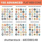 Collection of advanced flat web icons. Icon pack includes - SEO and development, education and knowledge, business and finance, creative process conceptual themes. | Shutterstock vector #683388148