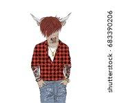 cow hipster  furry art...   Shutterstock .eps vector #683390206