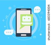 chat bot on phone. vector flat... | Shutterstock .eps vector #683394004