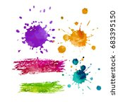 set of drops of paint. vector   Shutterstock .eps vector #683395150
