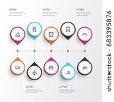 transport outline icons set.... | Shutterstock .eps vector #683395876