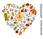 heart shape fall autumn doodle...   Shutterstock .eps vector #683396020