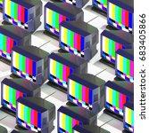 3d rendering of many isometric... | Shutterstock . vector #683405866