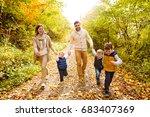 beautiful young family on a... | Shutterstock . vector #683407369