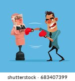 angry upset office worker man... | Shutterstock .eps vector #683407399