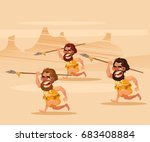 angry hungry primitive cavemen...   Shutterstock .eps vector #683408884