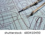 drawing and compasses | Shutterstock . vector #683410450