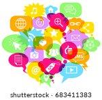 social network symbols in... | Shutterstock .eps vector #683411383