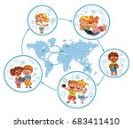 children interact with each... | Shutterstock .eps vector #683411410