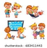 kids talking on the phone. boy...   Shutterstock .eps vector #683411443