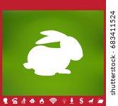 rabbit silhouette   vector... | Shutterstock .eps vector #683411524