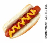 Stock photo hot dog with mustard and ketchup top view isolated on a white background 683413156