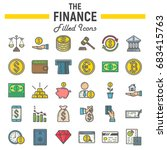finance filled outline icon set ... | Shutterstock .eps vector #683415763