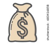 money bag filled outline icon ...