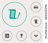 set of 6 bureau icons set... | Shutterstock .eps vector #683420290