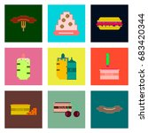 set pixel icons of fast food | Shutterstock .eps vector #683420344