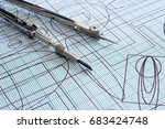 drawing and compasses | Shutterstock . vector #683424748
