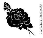 silhouette of a rose in a... | Shutterstock .eps vector #683425750