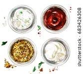 ketchup  mayonnaise  ranch and...   Shutterstock . vector #683426308