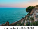 sunrise on the beach of calella ...   Shutterstock . vector #683428084