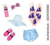fashionable beach outfit. a set ... | Shutterstock .eps vector #683430880