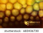 shiny golden honeycomb... | Shutterstock .eps vector #683436730