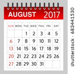 calendar of august 2017 on... | Shutterstock .eps vector #683441530