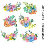 watercolor beautiful floral...   Shutterstock . vector #683442184