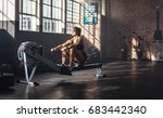 woman doing muscle training at... | Shutterstock . vector #683442340