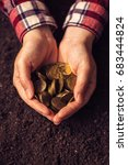 Small photo of Agricultural productivity, money yield and income after crop harvest, female farmer and agronomist with handful of golden coins