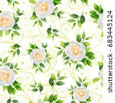 white camellia flowers and... | Shutterstock . vector #683445124