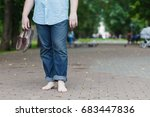 top view of crossing legs with... | Shutterstock . vector #683447836